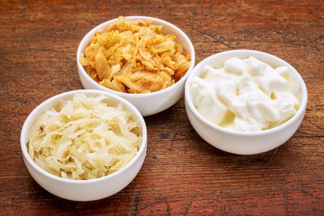 sauerkraut kimchi yogurt probiotic fermented food microbiome